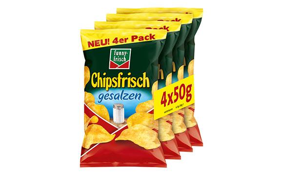 Funny-Frisch Chipsfrisch gesalzen 4er-Multipack / Intersnack Knabber-Gebäck