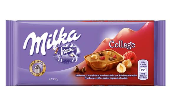 Milka Collage Himbeeren, karamellisierte Haselnussstücke und Schokotropfen / Mondelez Deutschland Services