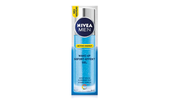Gesichtspflege - Silber: Nivea Men Active Energy Wake-up Sofort Effekt-Gel / Beiersdorf