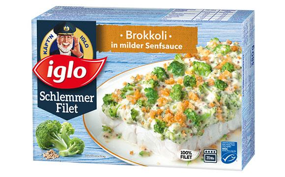 Fisch und Fischerzeugnisse - Silber: Iglo Schlemmerfilet Brokkoli in milder Senfsauce / Iglo