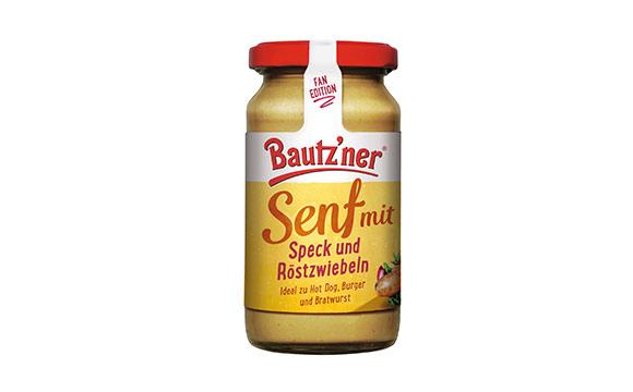 Feinkost und Delikatessen - Silber: Bautz'ner Senf mit Speck und Röstzwiebeln / Develey Senf & Feinkost