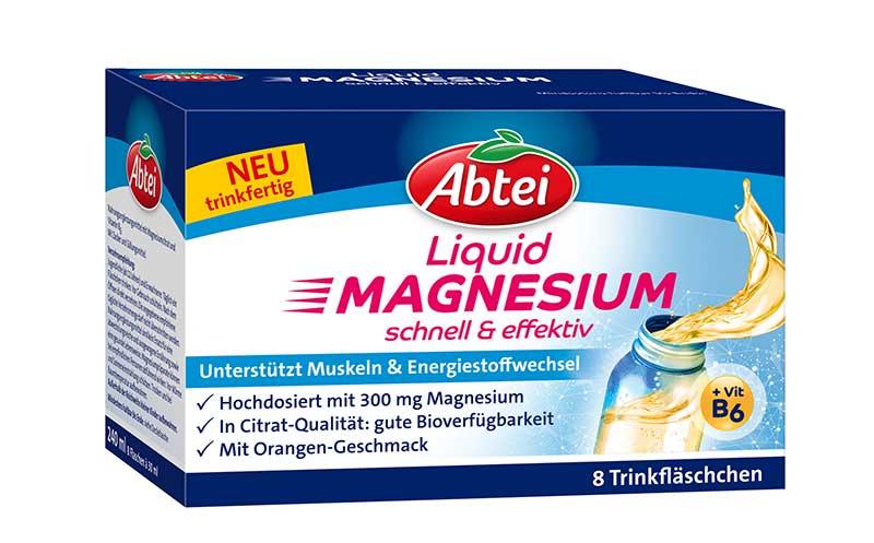 Freiverkäufliche Arzneimittel / Nahrungsergänzungsmittel - Gold: Abtei Liquid Magnesium / Omega Pharma Deutschland