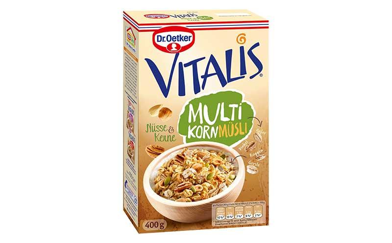Frühstücksprodukte - Silber: Dr. Oetker Vitalis Multikorn Müsli / Dr. August Oetker Nahrungsmittel