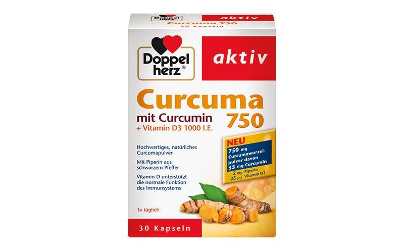 Freiverkäufliche Arzneimittel / Nahrungsergänzungsmittel - Gold: Doppelherz Curcuma 750-mg-Kapseln/Queisser Pharma