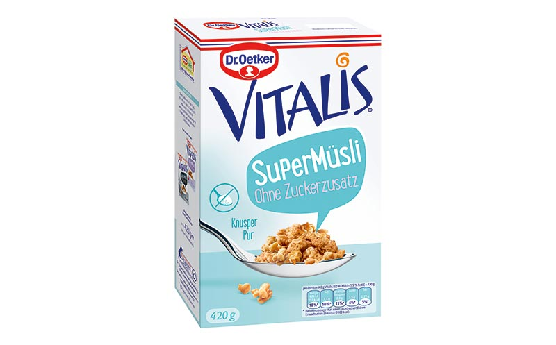 Frühstücksprodukte - Bronze: Vitalis SuperMüsli ohne Zuckerzusatz/Dr. August Oetker