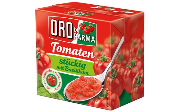 Obst und Gemüse - Silber: Oro di Parma Stückige Tomaten mit Basilikum / Hengstenberg