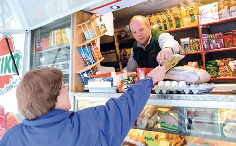 Rollende Flotte von Supermärkten