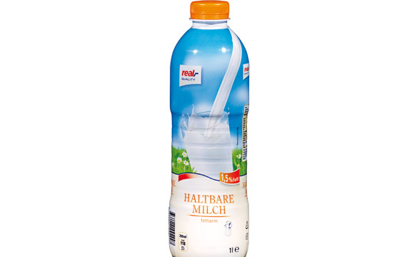 Leicht zu öffnen, dank der taillierten Form gut zu greifen, sicheres Ausgießen: Die Milchflasche von Real erhielt eine lobende Erwähnung beim Silver Pack 2014.