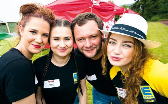 Immer für einen Spaß zu haben: (v. l.) Katharina Pfuhl, Florjana Shabani, Christoph Kolb, Dzenisia Mavric, beim Neuwieder Sommercamp 2016.