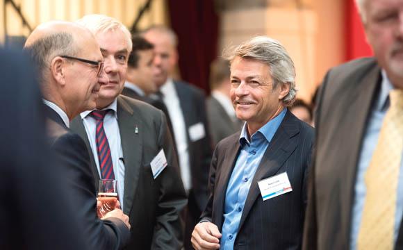 Netzwerker (v. r.) Klaus Lellé (Halloren), Ulrich Wiegel (Rotkäppchen), Michael Andritzky (Verband der Ernährungswirtschaft).