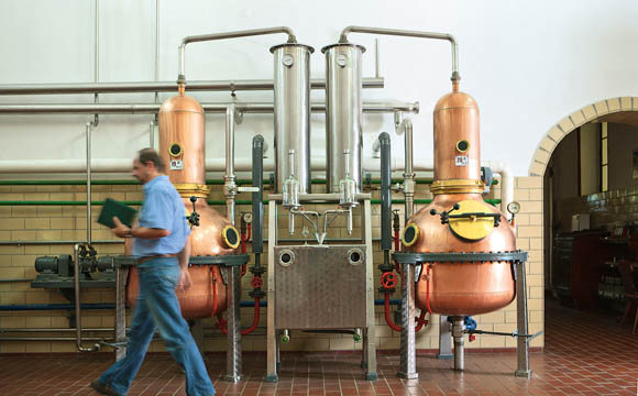 Beim Brennvorgang werden der Alkohol und die Aromastoffe von den anderen Stoffen der Maische getrennt.