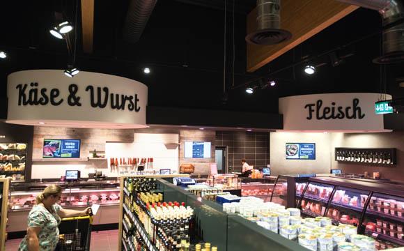 Bei Fleisch und Wurst liegt der Umsatzanteil mit gut 15 Prozent höher als im ersten Markt in Weissach.