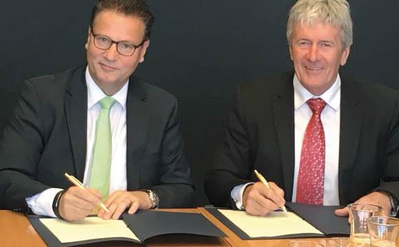 Peter Hauk (l.), Minister für den ländlichen Raum und Verbraucherschutz Baden-Württemberg, und sein neuseeländischer Kollege Damian O'Connor.