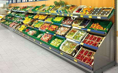Rationelle Obst- und Gemüse-Präsentation zur schnellen Bestückung mit Kisten im Standardformat.