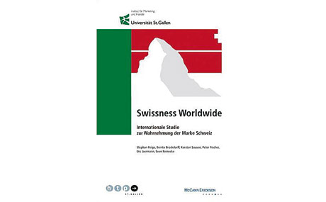 """Marke Schweiz: Der Studienbericht """"Swissness Worldwide 2010 – Internationale Studie zur Wahrnehmung der Marke Schweiz"""" von der Universität St. Gallen. Bezogen werden kann die Studie unter: www.htp-sg.ch."""