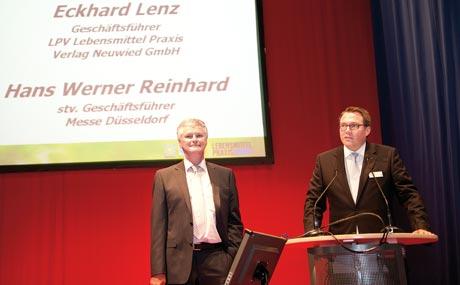 Partner: Hans-Werner Reinhard, stellvertretender Geschäftsführer Messe LPV-Geschäftsführer EckhardDüsseldorf (r.), und  Lenz begrüßten die Gäste zur Verleihung des von LP und InterMessen gemeinsam initiierten Nachhaltigkeitspreises