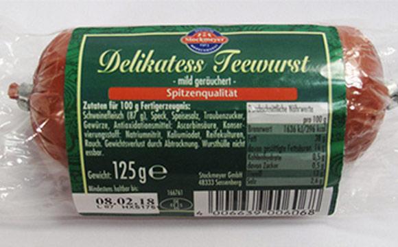 Rückruf von Teewurst